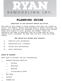 Ryan Remodeling Planning Guide
